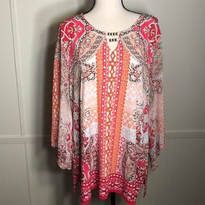 JM Collections Tunic in Pink, coral, white